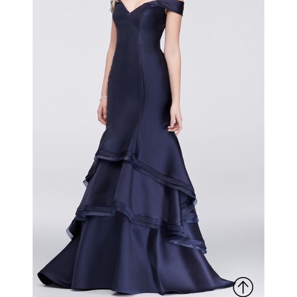adcb62d7 Macy's Dresses | New Xscape Navy Off The Shoulder Ruffle Prom Dress ...